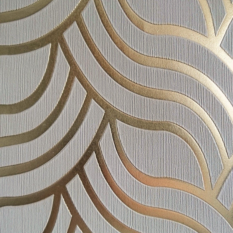 Demure   Art Deco 1920's Style Geometric Wallpaper in Beige & Gold ...