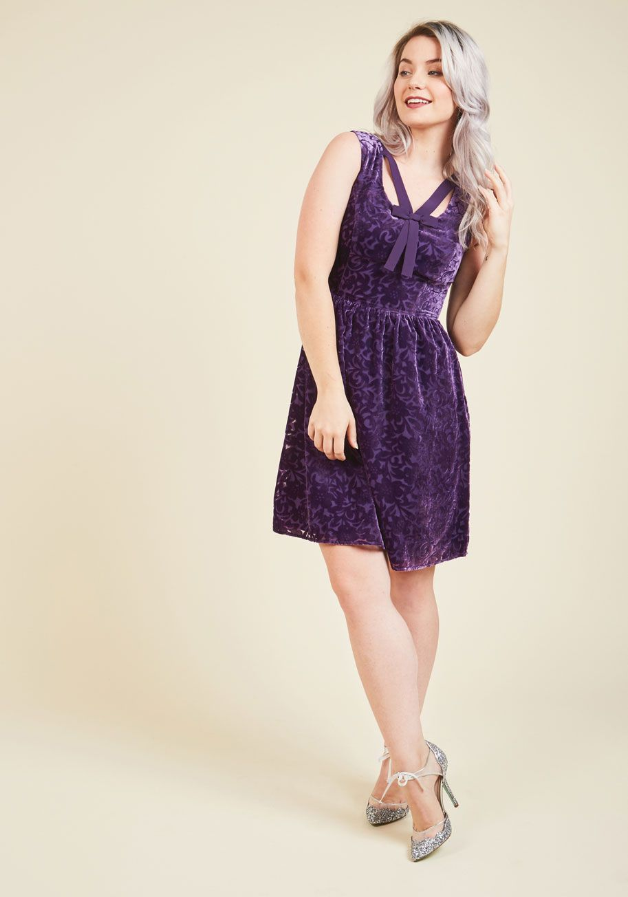 835f487740 Mystery Dinner Theater Velvet Dress in Amethyst. Quick - the show s about  to begin!  purple  modcloth
