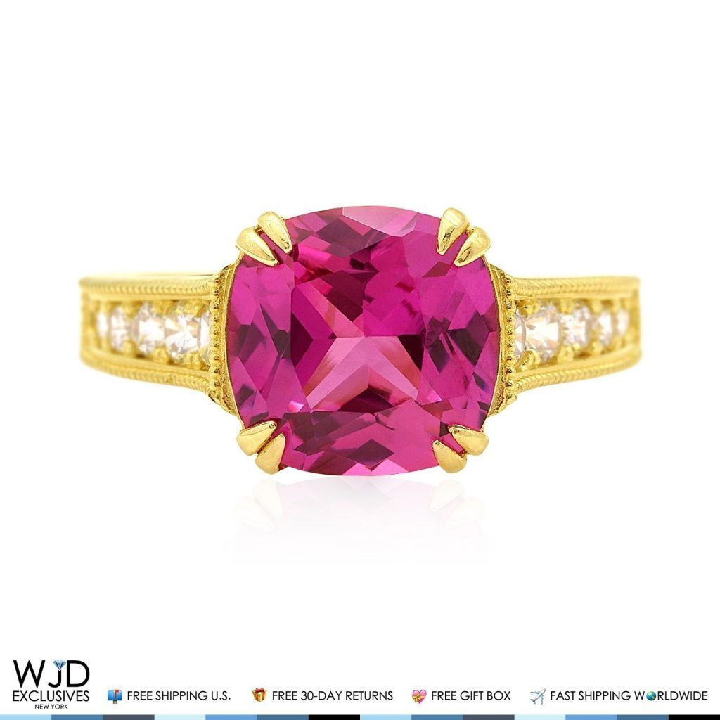 Absolutely dazzling, this cushion cut pink sapphire and diamond ...