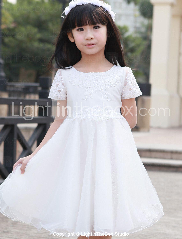 Aline princess kneelength flower girl dress tulle short sleeve