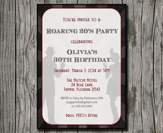 Roaring 20s Invitation Printable 1920s Birthday Invite Great