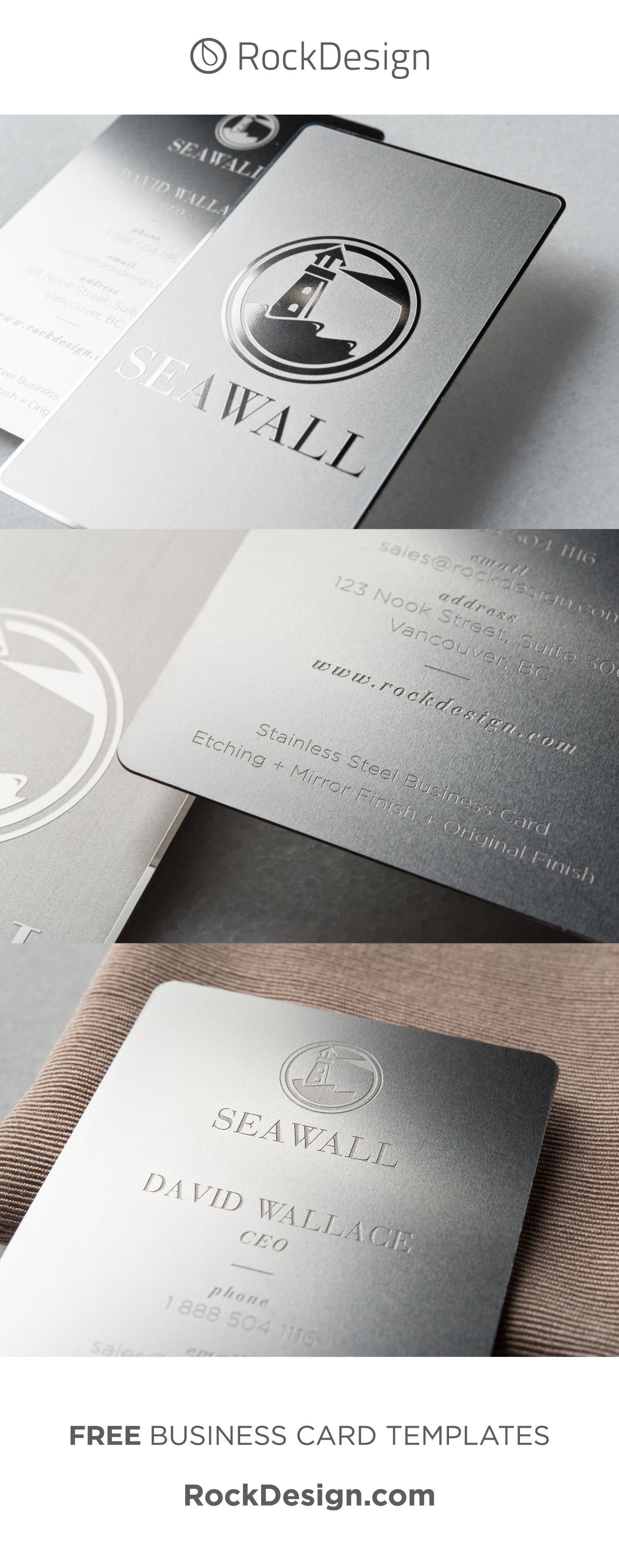 Minimalist Modern Stainless Steel Business Card Seawall Luxury Business Cards Metal Business Cards Business Card Design