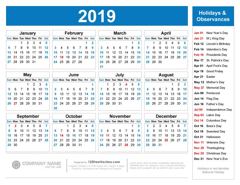 Free Printable 2019 Calendar with Holidays Free Vectors 2019