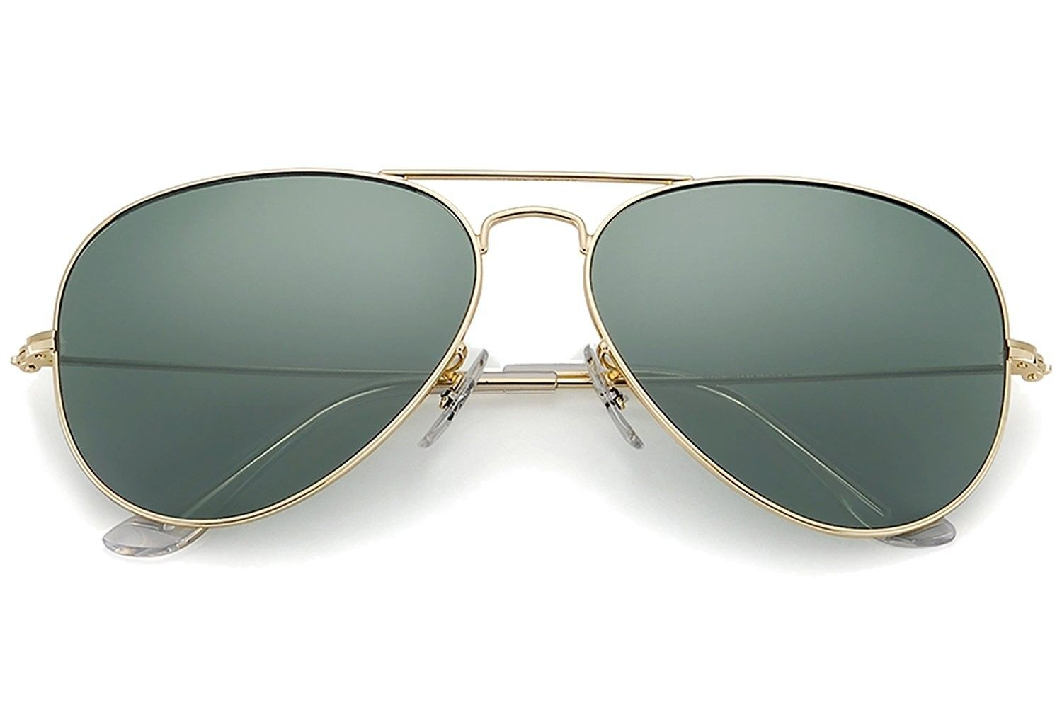 3db34c68afe5 Polarized Aviator Sunglasses for Men and Women - Gold Frame Black Green Lens  - CZ186KE6DNL - Women s Sunglasses