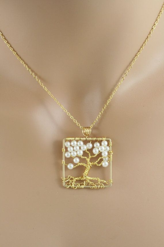 Tree Of Life Necklace Pearl Pendant On Gold Chain Wire Wrapped Wedding Jewelry June Birthstone Jewelry