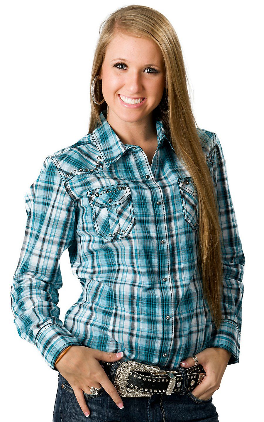 6f86d6b0 Ariat Women's Collins Turquoise, Black and White Plaid Long Sleeve Western  Shirt