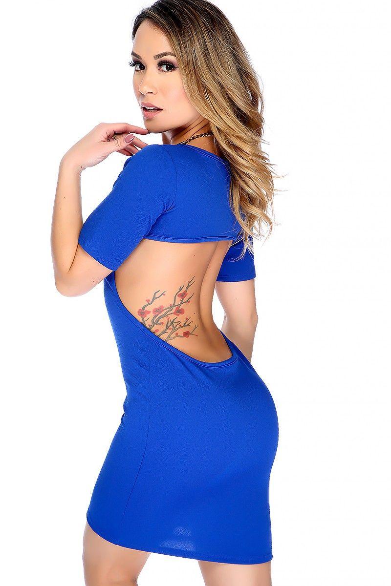 Sexy royal blue textured short sleeve open back bodycon casual dress