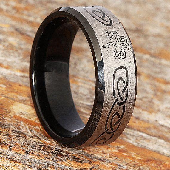 Tungsten Shamrock Ring Celtic Knot Band Tungsten Wedding Etsy Mens Celtic Wedding Bands Mens Wedding Rings Celtic Wedding Rings