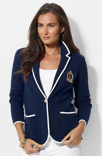 Lauren Ralph Lauren Crest Pocket Knit Blazer Nordstrom Fashion Ralph Lauren Blazer Blazer Jackets For Women