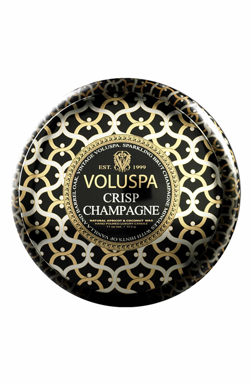 11 ounces Voluspa Crisp Champagne 2 Wick Metallo Tin Candle