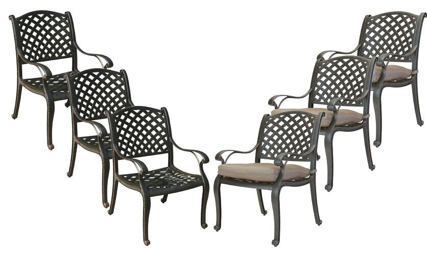 Patio Dining Chairs Set Of 6 Outdoor Cast Aluminum Furniture Nassau Bronze Nassau Patio Deck Vera Patio Chairs Aluminum Furniture Aluminum Patio Furniture