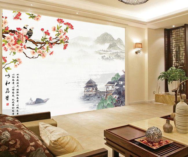 papier peint personnalis style chinois paysage avec les fleurs de ceriser et les oiseaux asia. Black Bedroom Furniture Sets. Home Design Ideas