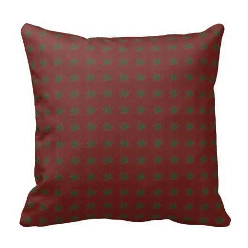 Hunter Green Leaves On Dark Red Vintage Decorative Throw Pillow Beauteous Hunter Green Decorative Pillows