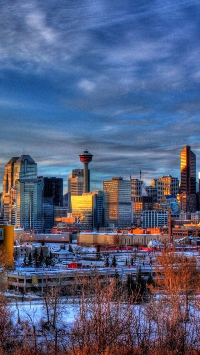 Calgary Cityscape Alberta Canada iPhone 5 wallpapers, backgrounds, 640 x 1136 | All Calgary/YYC ...