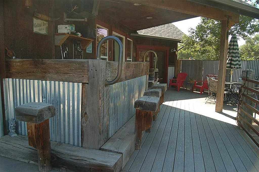 Outdoor Bar Made With Railroad Ties And I Think Roofing Or
