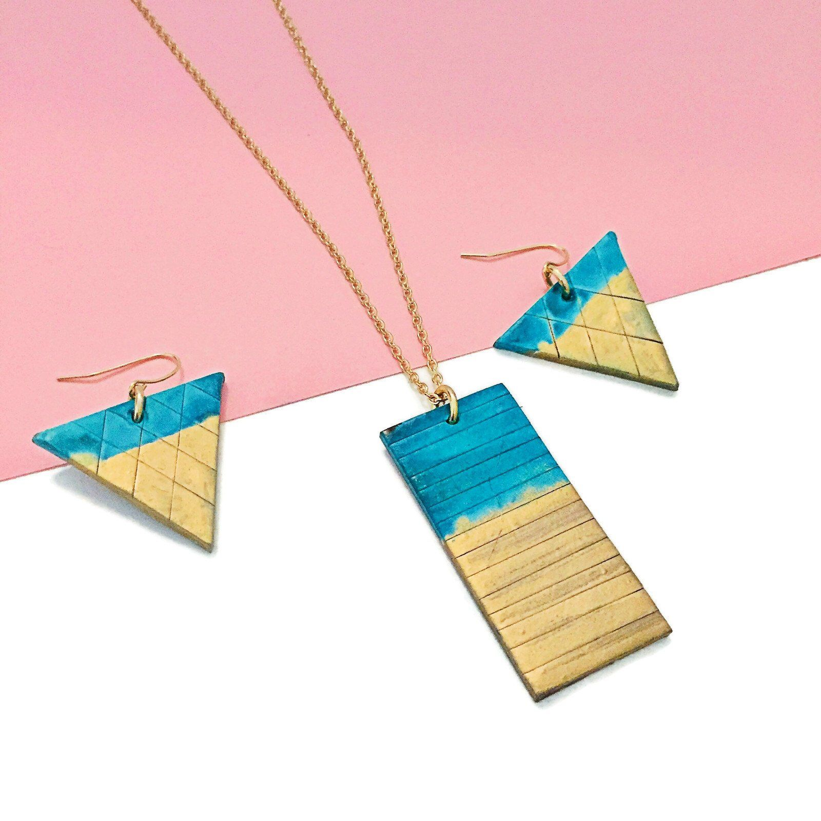 Gold Turquoise Necklace Earring Set | Gold Bar Jewelry Set with Triangle Earrings and Polymer Clay Pendant | Two Tone Painted Earrings