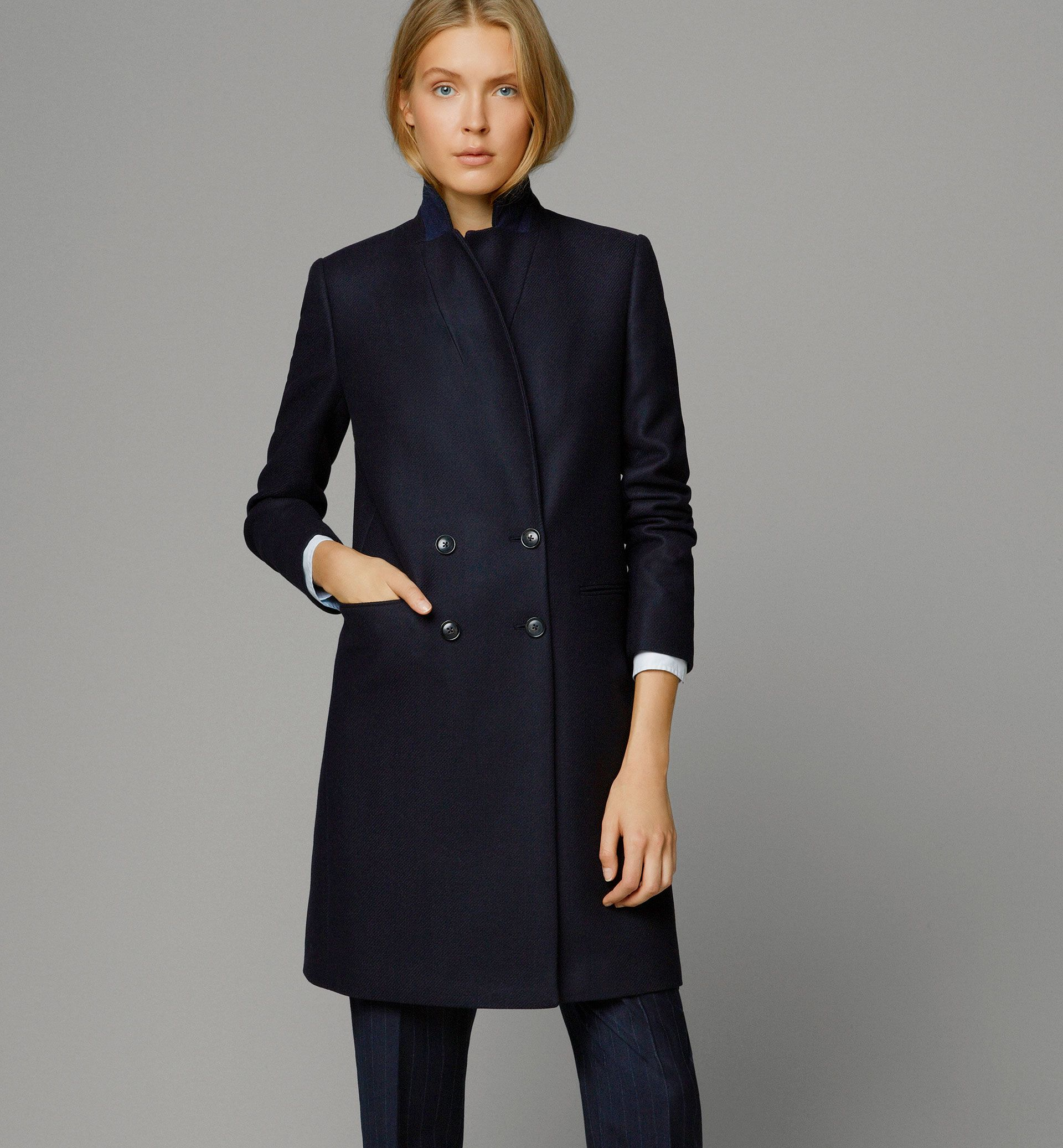 Massimo Dutti - 6426/933 - NAVY COAT - Coats & Jackets | Coats and ...