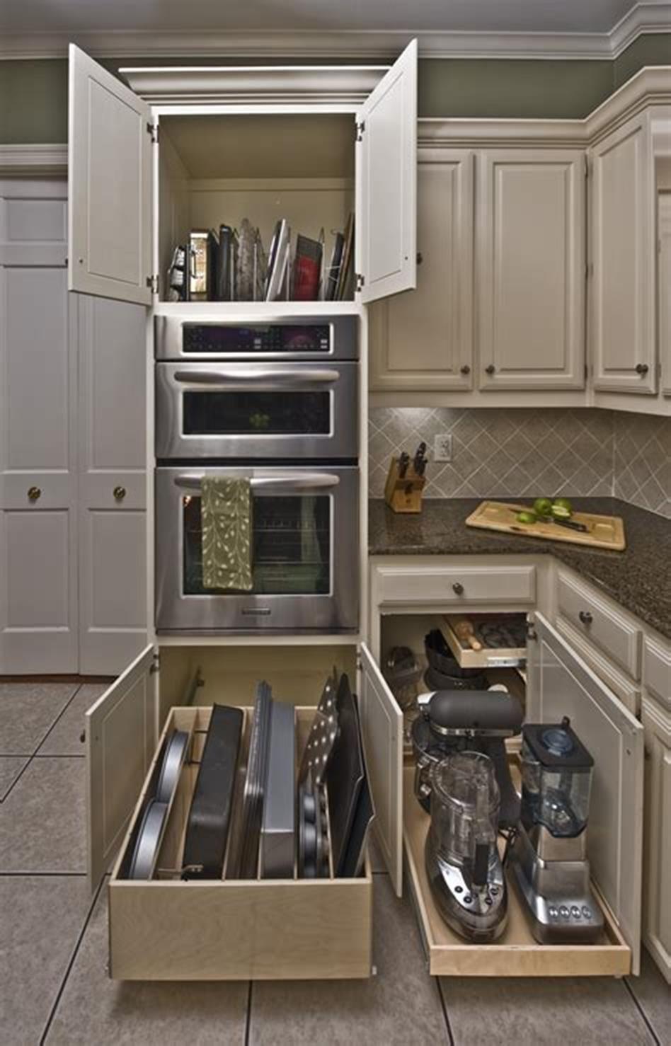 40+ DIY Ideas Kitchen Cabinet Organizers - HomEnthusiastic #cabinetorganizers