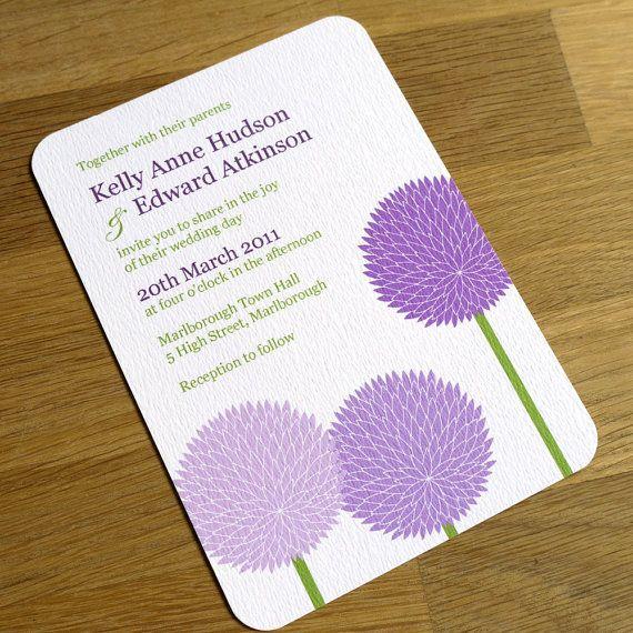 purple flower wedding invitation allium design one sample lilac lime pinterest. Black Bedroom Furniture Sets. Home Design Ideas