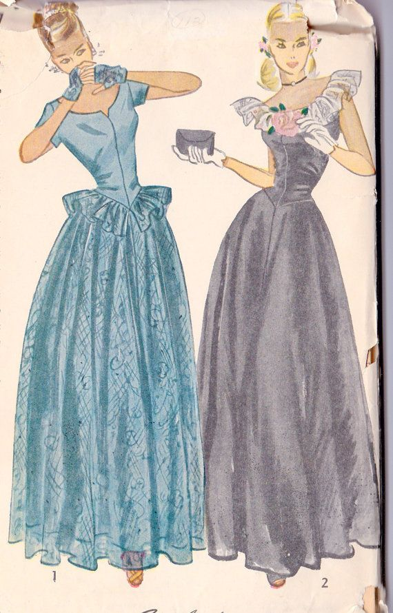 1940s prom dress evening gown ball gown vintage sewing for 1940s wedding dress patterns