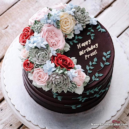 Chocolate Birthday Cake Images With Name And Photo Preeti Face