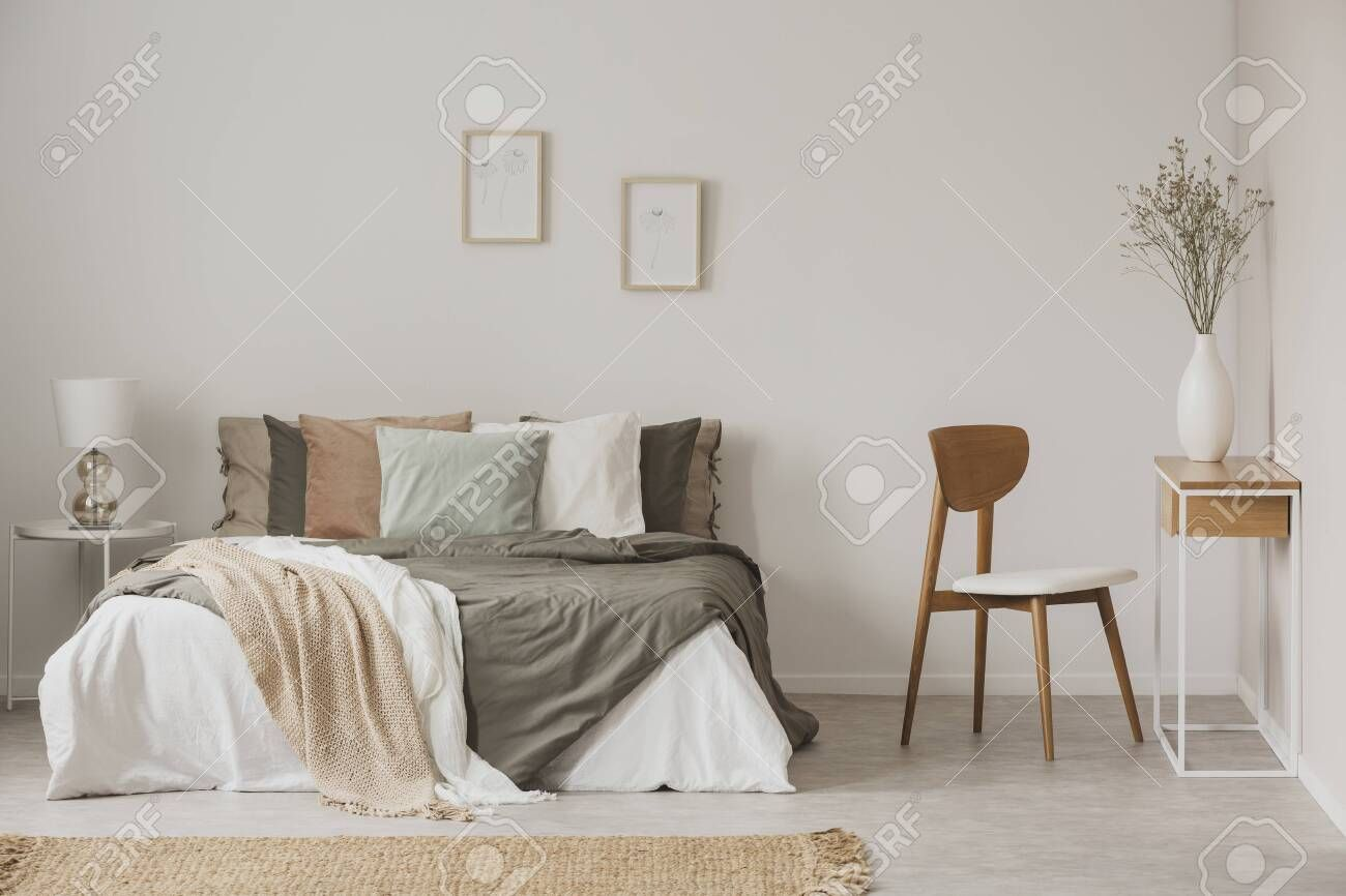Stylish Chair Next To Warm King Size Bed In Scandinavian Bedroom Aff Warm King Stylish Chair Sca In 2020 Stylish Chairs Scandinavian Bedroom King Size Bed