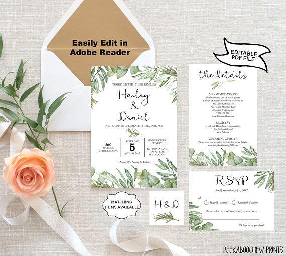 Wedding Invitation Suite Template Olive Branch Rosemary Eucalyptus