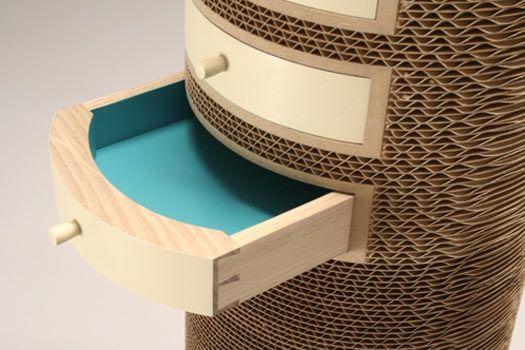 """Jason Scheider TALL CYLINDER (detail) 2007 corrugated cardboard, ash, milk paint 32"""" x 8"""""""