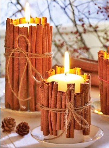 spice up your candles by adding some cinnamon sticks and tie with a stringto give them a homey rustic look