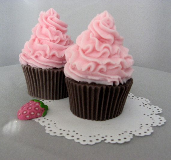 Cupcake soap chocolate cherry scent Princess soaps for kids