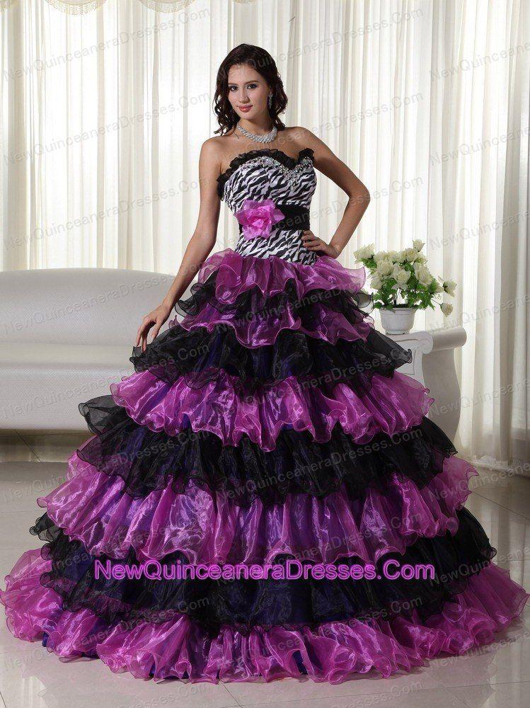 eab8cb4838 purple and black layered quinces dress