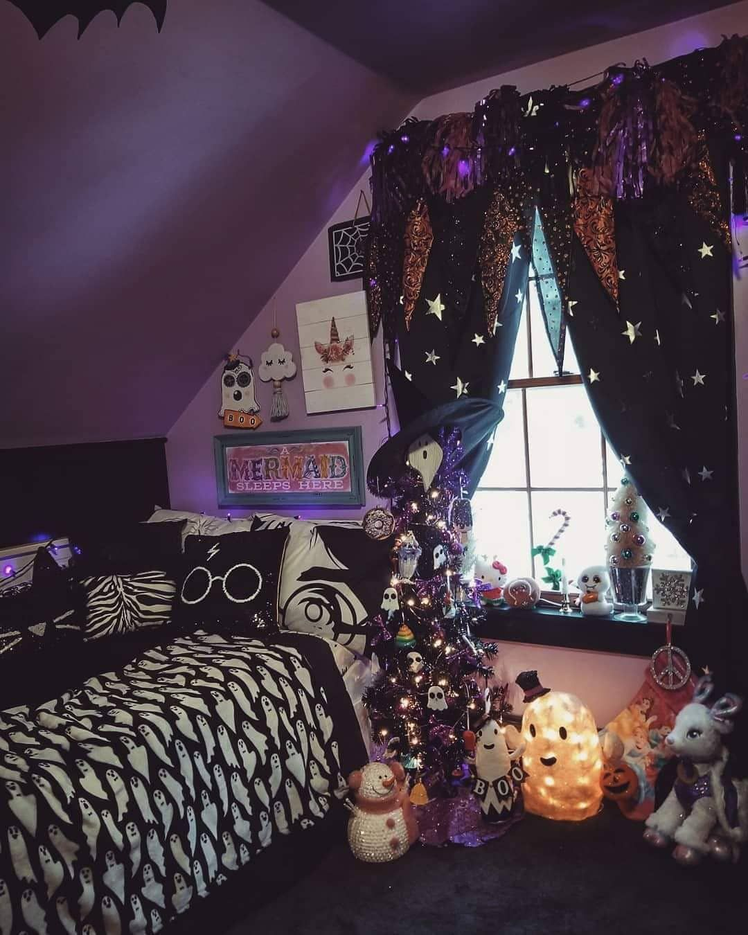 One Room Is Halloween Related But Thought It Would Be Cute To Share My Kids Mini Tree S In Th Halloween Bedroom Decor Halloween Bedroom Halloween Room Decor