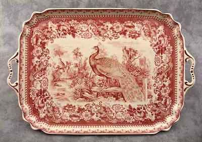 RED \u0026 CREAM TRANSFERWARE FRENCH PEACOCK TOILE SERVING PLATTER TRAY ~w/ HANDLES~. China DinnerwareChina ... & RED \u0026 CREAM TRANSFERWARE FRENCH PEACOCK TOILE SERVING PLATTER TRAY ...