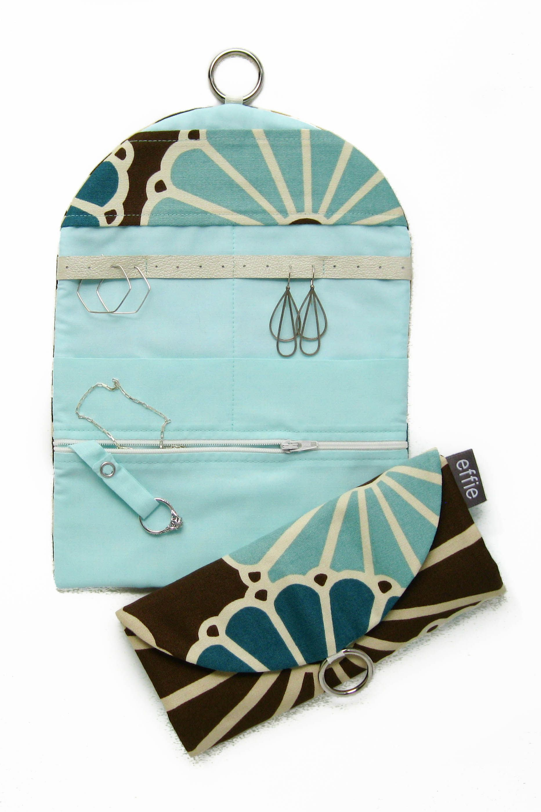 travel jewelry organizer - mod floral in brown aqua