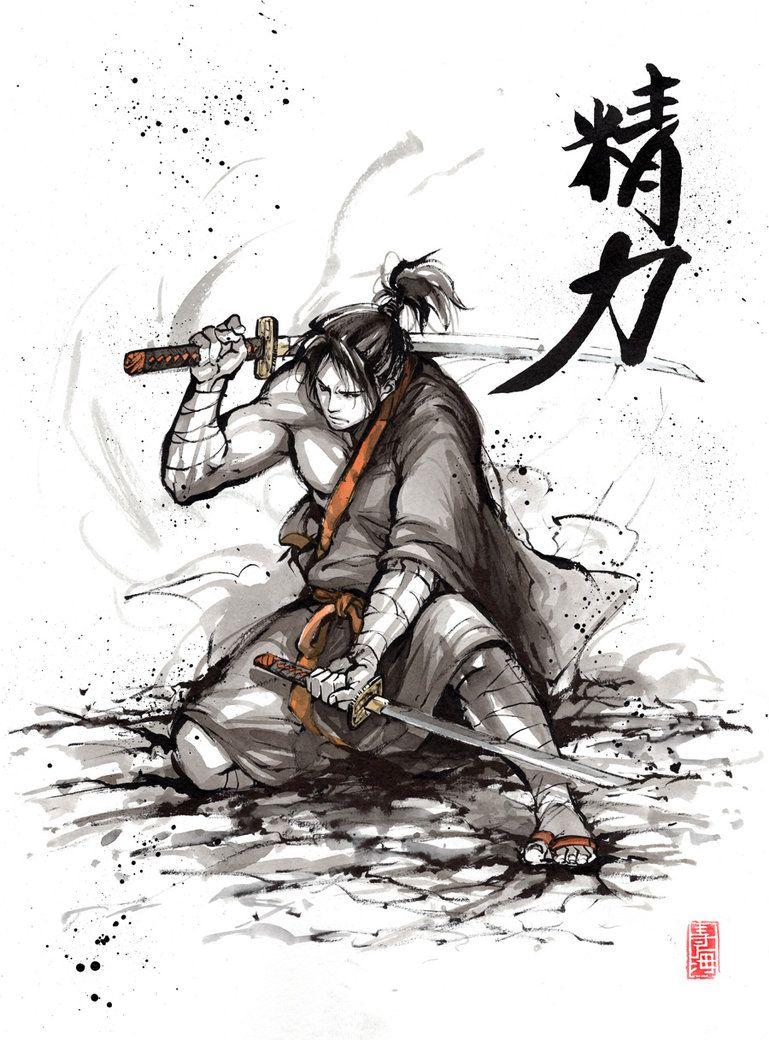 Samurai With Calligraphy Vitality By Mycks Desenhos Ilustracao