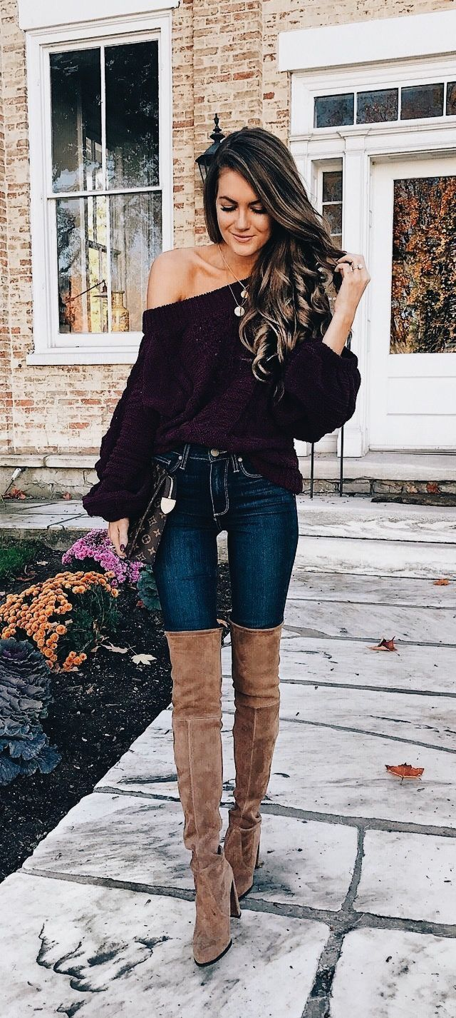 Off the shoulder black top with blue jeans and taupe OTK