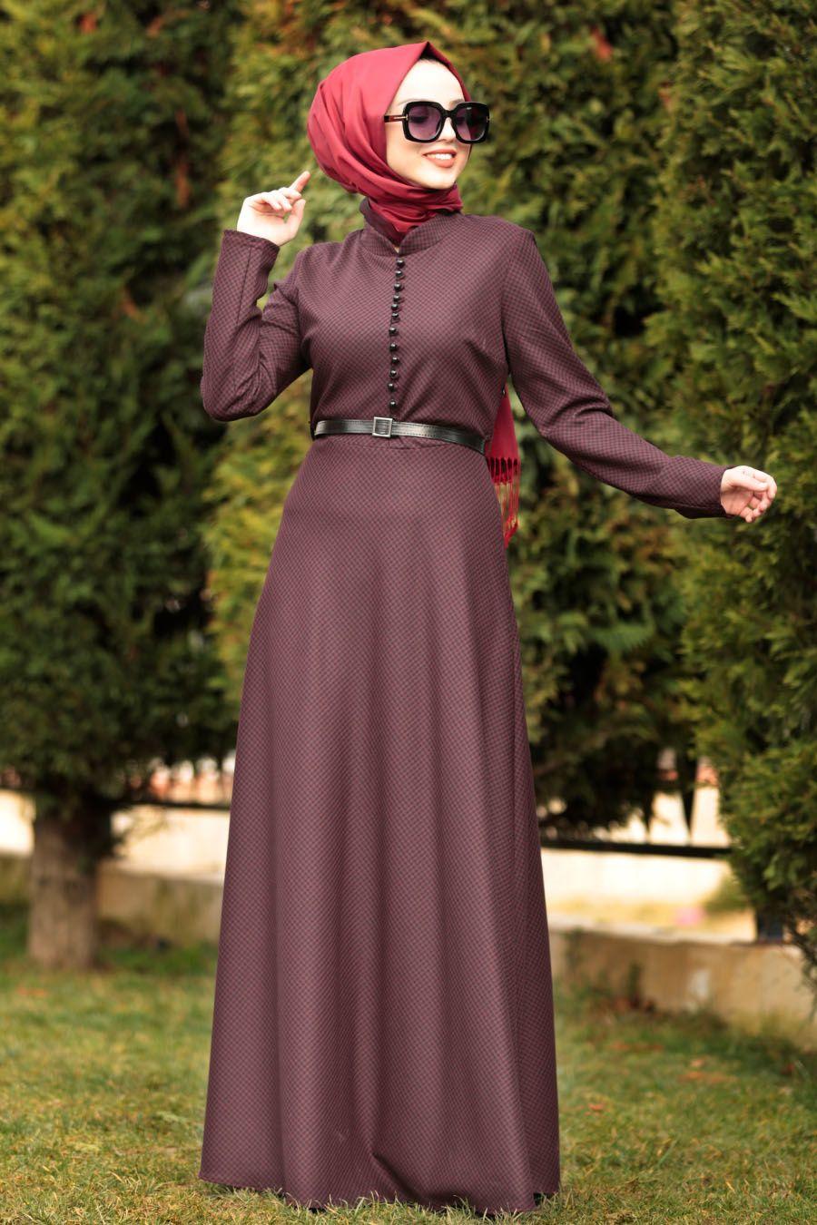 Photo of Nayla Collection – Button Detailed Burgundy Islamic Dress 84401BR – Tesetturisland.com