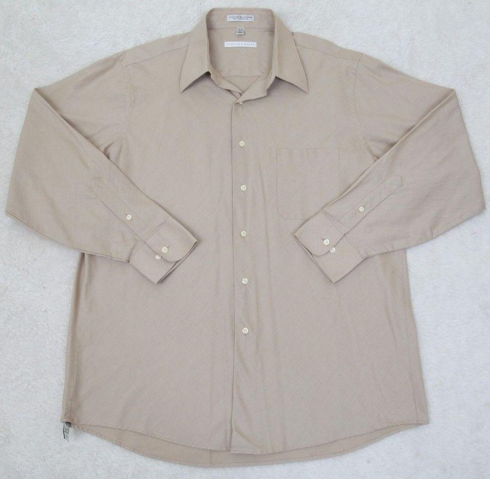 Geoffrey Beene Dress Shirt 17 3435 Beige Solid Cotton Polyester