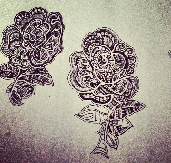 Maori Tattoo Design Crossed With An England Rugby Rose Tattoos