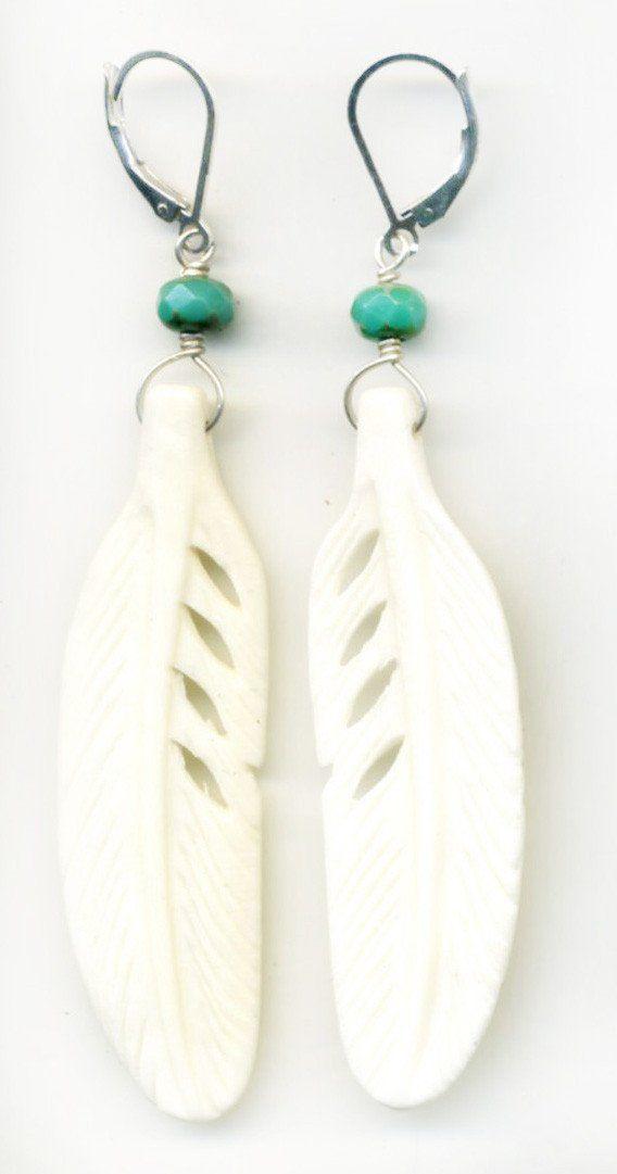 Bone Feather Earrings In 2020 Feather Earrings Bone Carving Feather