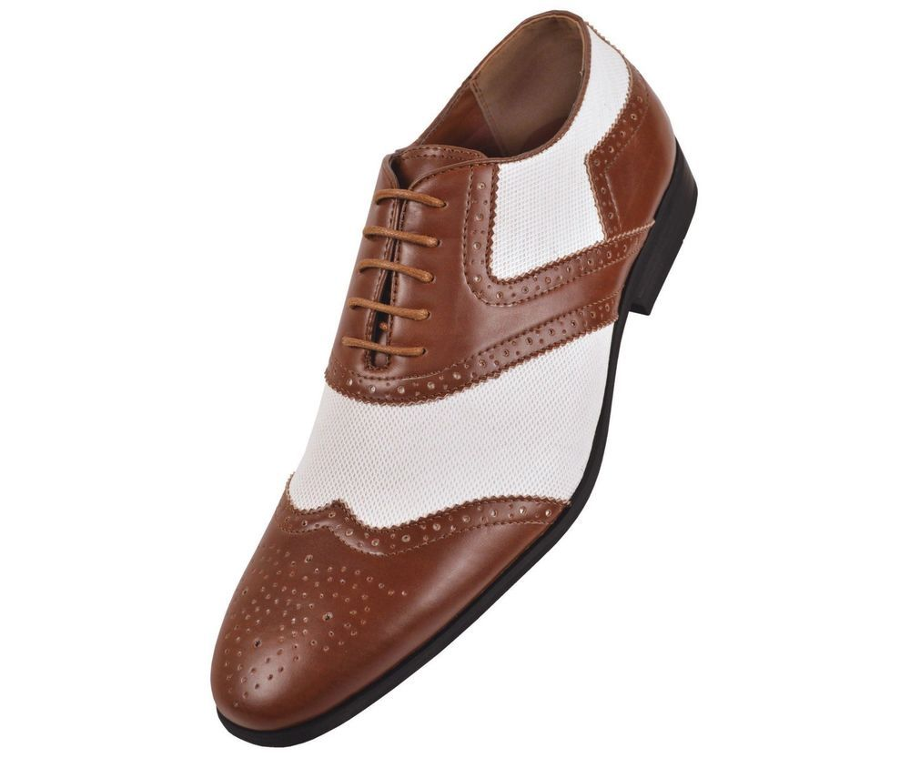 Amali Mens TwoTone White Linen and Brown Smooth Oxford Dress Shoe