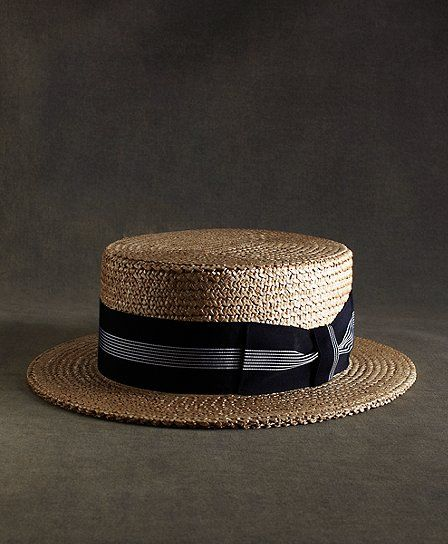 bbccbc55f684e The Great Gatsby Collection Straw Boater Hat with Navy and White Striped  Ribbon Tan-Blue