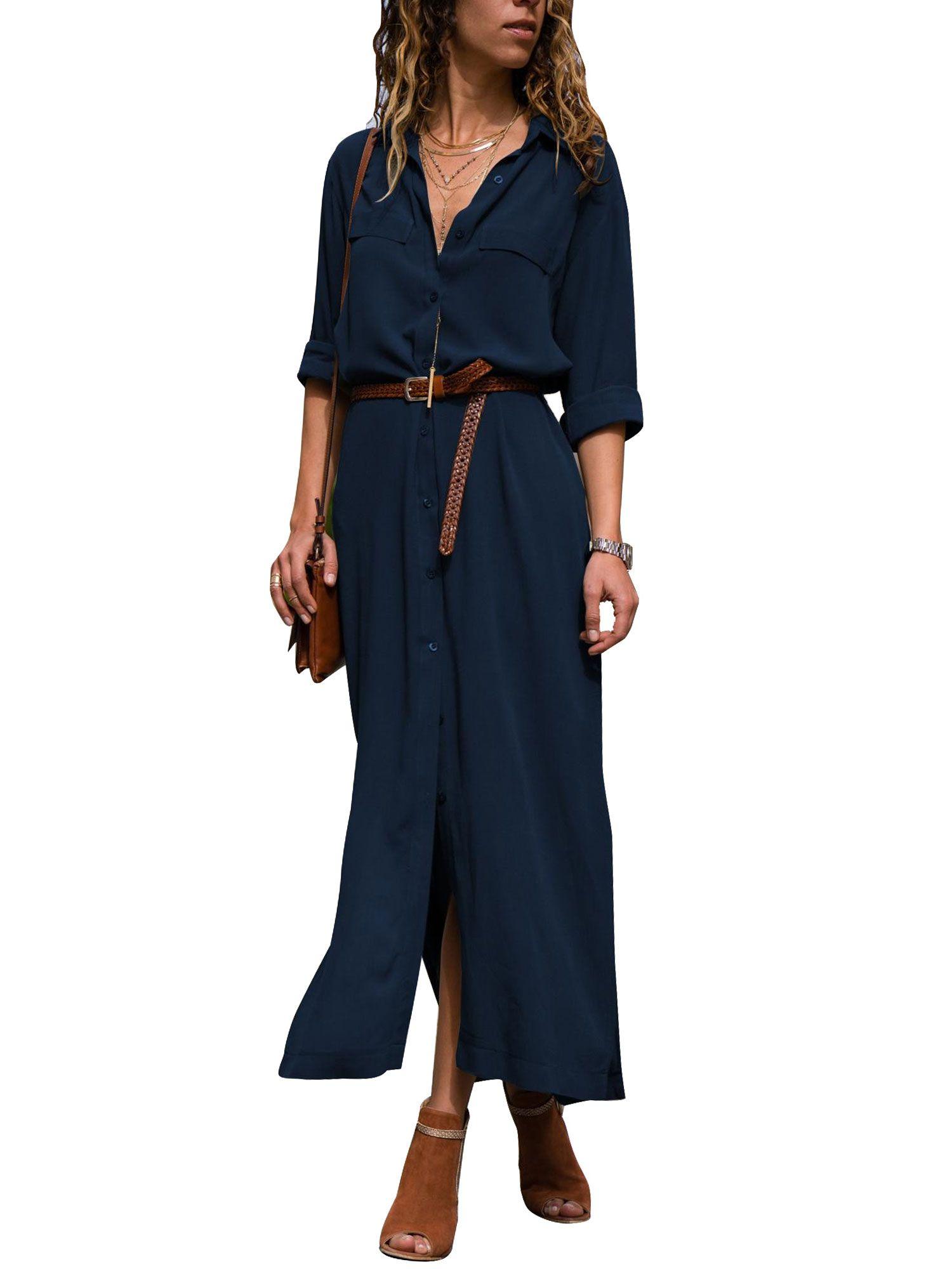 a58c77fe643 Lapel V Neck Button Shirt Dresses for Women Maxi Long Sleeve Casual Solid  Color Loose Boho Tea Dress Side Split Sun Dress Maxi