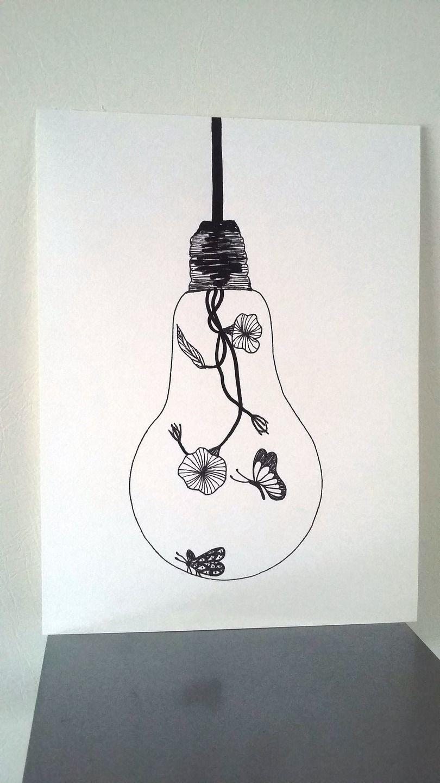 Affiche Illustration Noir Et Blanc Ampoule Douceur D