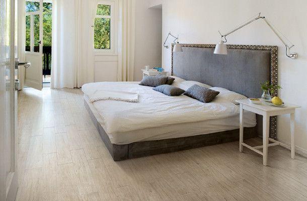 padded headboard bedroom contemporary with modern tile porcelain tile white oak white tile wood look tile - Porcelain Tile Bedroom Ideas