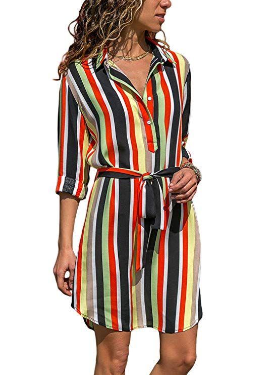 eb06f466ebab98 GOSOPIN Womens Long Sleeve Color Block Print Button Down Tie Waist Shirt  Dress with Pocket #dress #casual #casualdresses #trendinginunitedkingdom ...