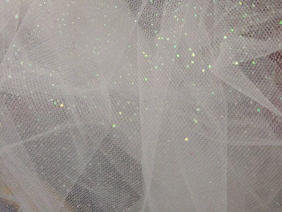 White Soft Glitter Star Dust English Net Bridal Wedding