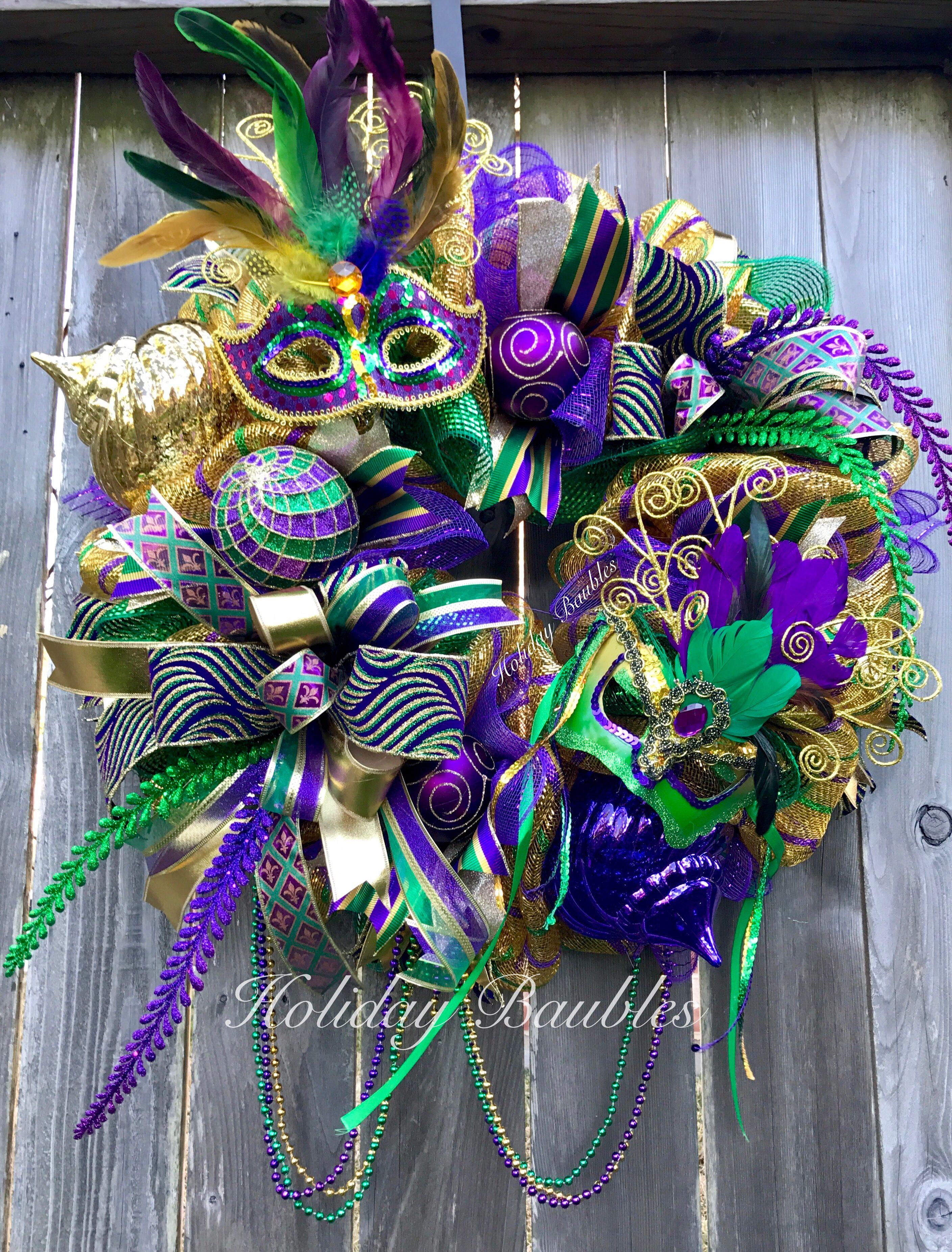 Mardi Gras By Holiday Baubles Mardi Gras Wreath Mardi Gras Decorations Mardi Gras