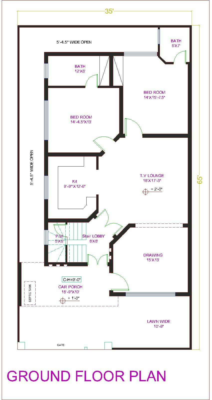 house plan drawing 40x80 islamabad | design project | pinterest