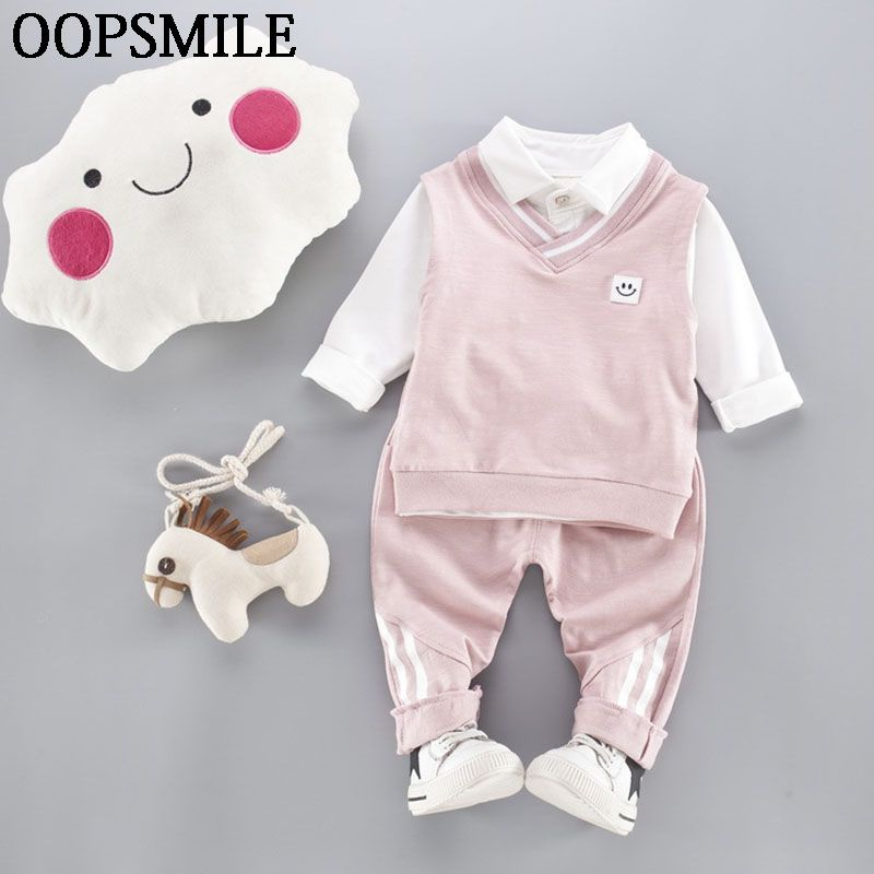 >> Click to Buy << Baby Clothes Set Unisex Overall suit Turn-down Collar Shirt+Vest+Casual Pants 3pc Suit Baby Girls Clothes Cartoon roupas de bebe #Affiliate